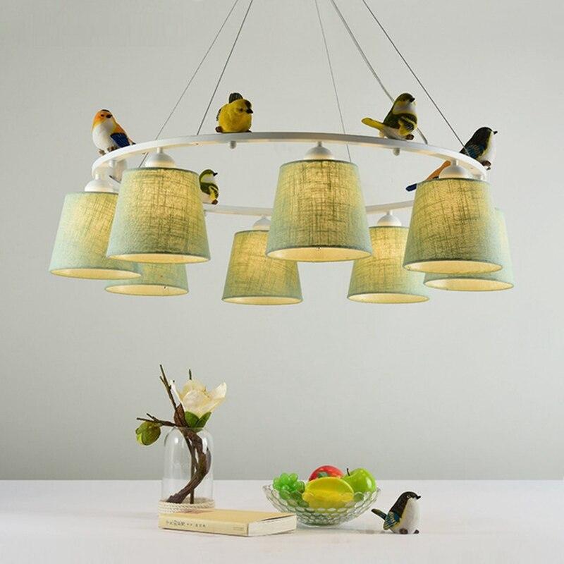 LukLoy E27 Bird LED Chandelier Light Lamp Fabric Lampshade Chandelier Study Bedroom Living Room Pendant Hanging Lighting Fixture недорго, оригинальная цена