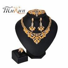 2019 New Bridal Dubai Gold Jewelry Sets Crystal Necklace Bracelet Nigerian Wedding Party Women Fashion Set for