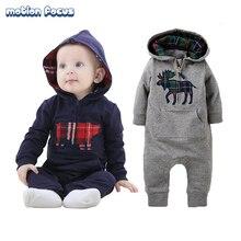 New Autumn Winter Infant Baby Boys Rompers Newborn Jumpsuit Toddler Fleece Climb Romper Christmas Deer Hooded Outwear