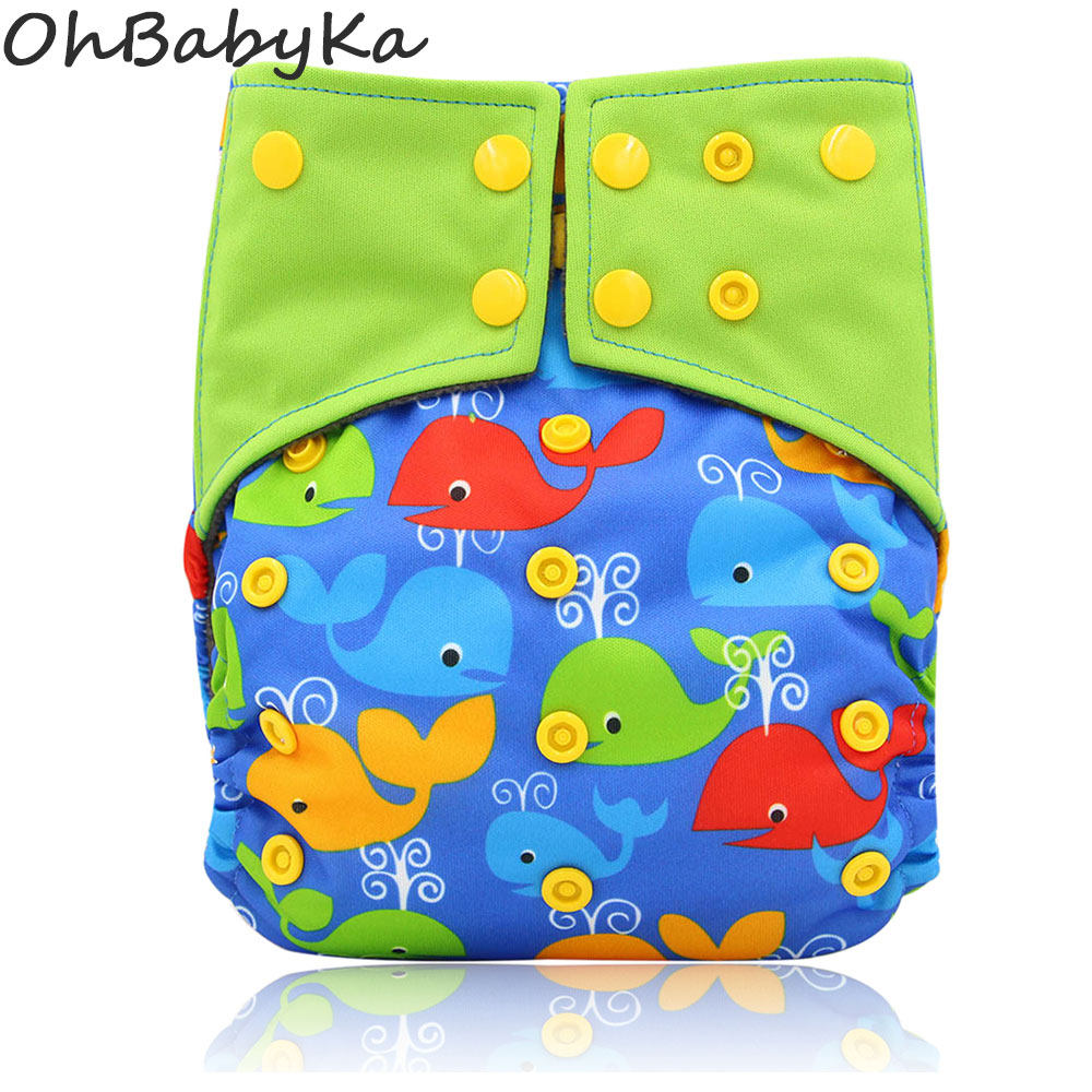 Ohbabyka Baby Diaper Cover Adjustable Baby Nappies All-in-two AI2 Waterproof PUL Cloth Diaper Cover Double Gusset Nappy Pants [mumsbest] 3pcs washable waterproof baby nappy pul suit 3 15kgs adjustable boy diaper covers car print design cloth diaper cover