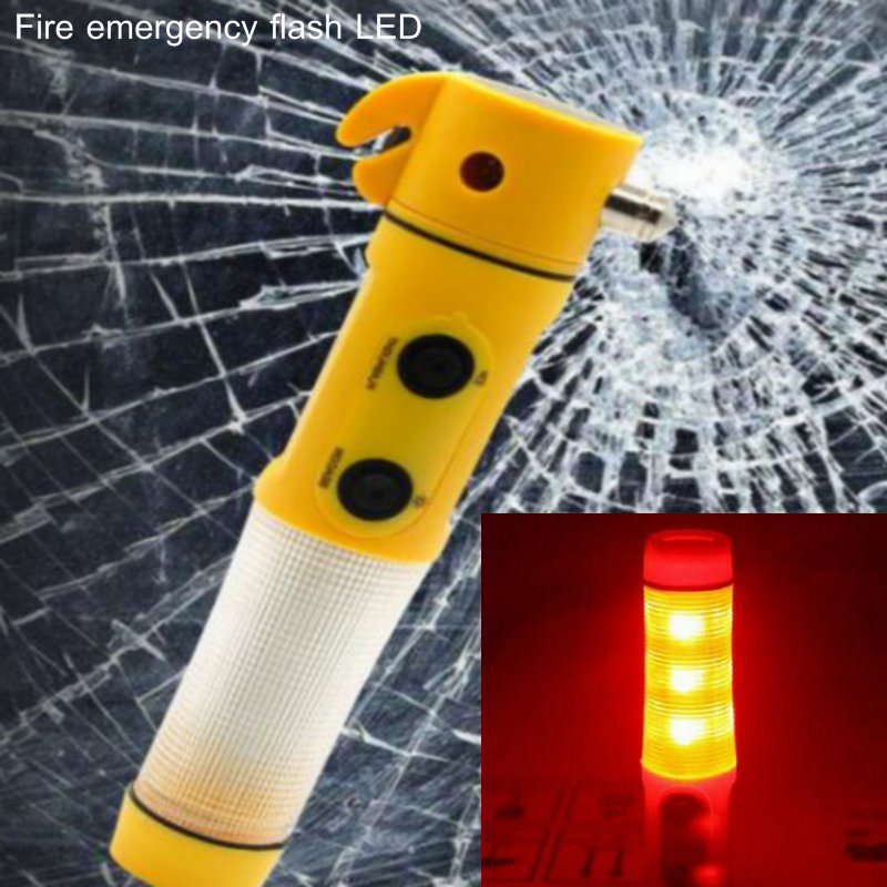 Protable Fire Alarm Rescue Hammer Blade Emergency Multi-function Flash Flashlight Window  Broken 4-in-1 Safety LED Light Camping