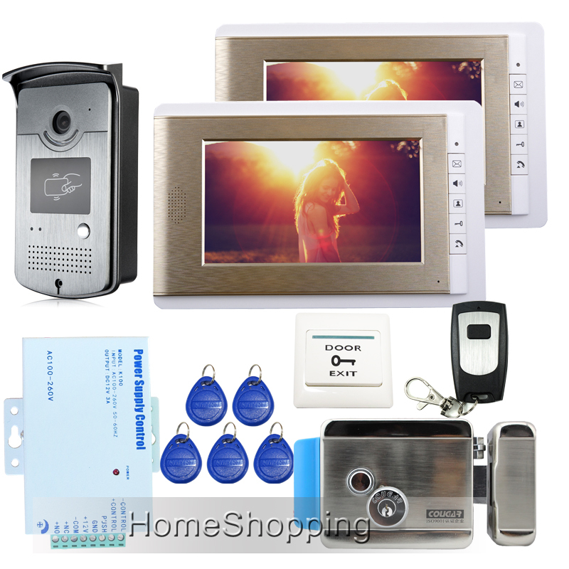 FREE SHIPPING Wired 7 Video Door phone Intercom System 2 Monitors + RFID Access Door Camera + Electric Control Lock IN STOCK