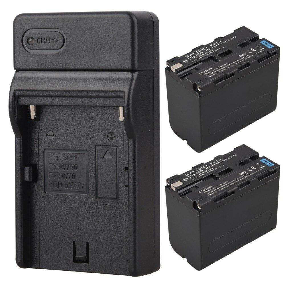 2 pcs 7.2 v 7800 mah NP-F960 NP-F970 Numérique Li ion Batteries Pour Sony F960 F970 Remplacement Rechargeable Batterie Pack batteria