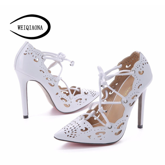 Women Pumps  Brand Sexy High Heels Wedding Party Woman Shoes Gold and White Heels Zapatos Mujer Plus Size 35-43