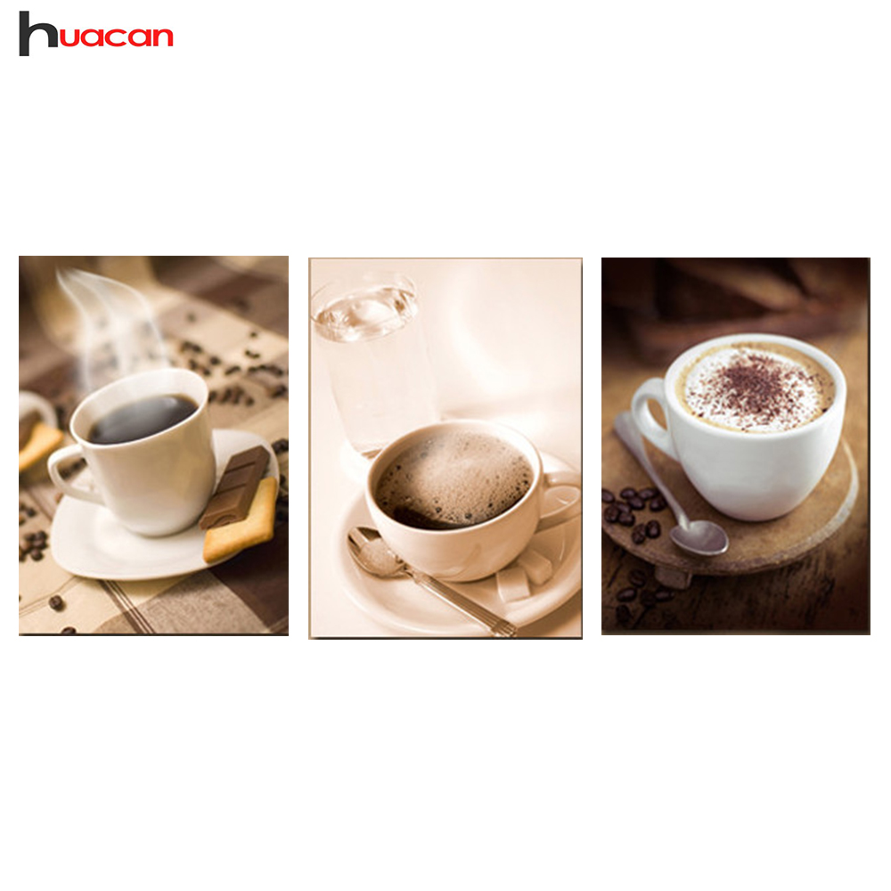 HUACAN 5D DIY Diamond Painting Coffee Cup Needlework Craft 3pcs Full Square Diamond Embroidery Sets for Dining Room Decor F1247HUACAN 5D DIY Diamond Painting Coffee Cup Needlework Craft 3pcs Full Square Diamond Embroidery Sets for Dining Room Decor F1247