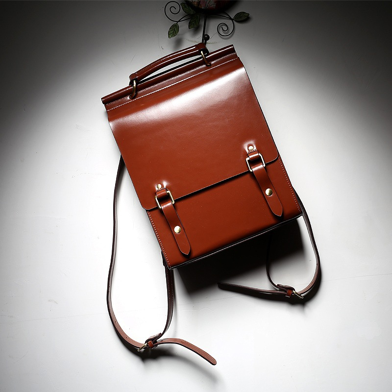 <font><b>Genuine</b></font> <font><b>leather</b></font> <font><b>backpack</b></font> <font><b>Unisex</b></font> school style laptop vintage Smooth surface cowhide <font><b>leather</b></font> Stereotypes man/women solid knapsack image
