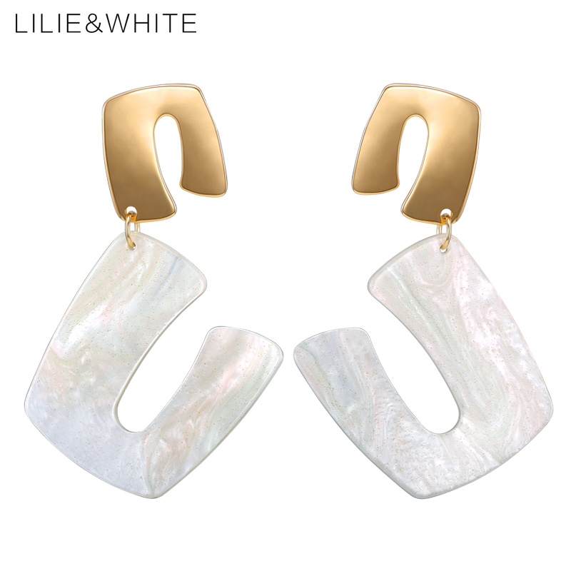 LILIE&WHITE Twisted Geometric U-shaped Colorful Acrylic Drop Earrings For Women Punk Earrings Jewelry Gift Drop Shipping HC