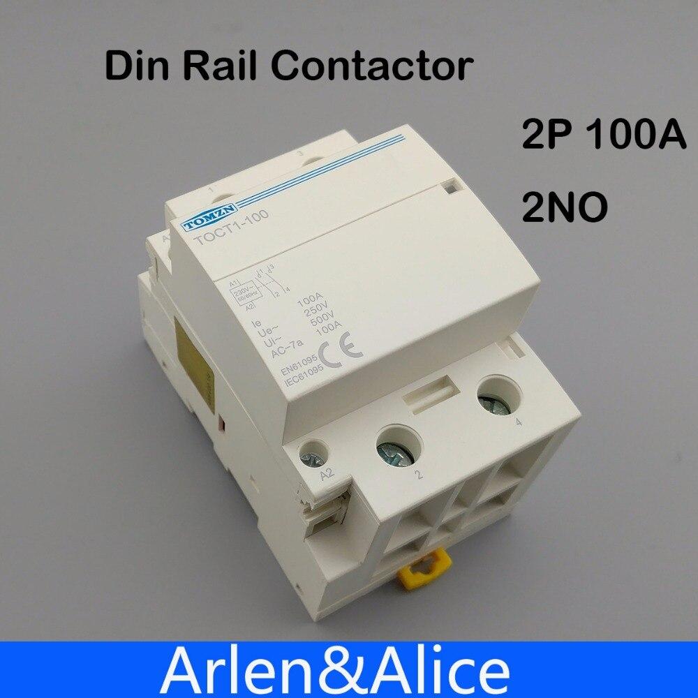 TOCT1 2 P 100A 2NO 230 V 50/60 HZ rail Din Ménage ac contacteur Modulaire