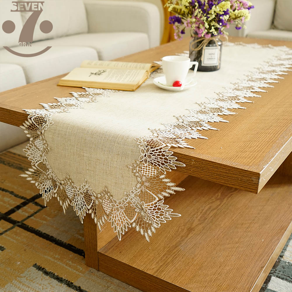 Free Shipping Home Decorative Embroidered 2-Tone Border Linens Vintage Style Table Runner