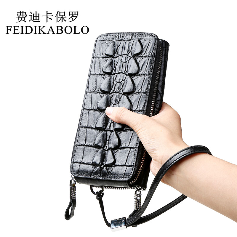 FEIDIKABOLO Luxury Alligator Men Wallets Genuine Leather Double Zipper Male Clutch Purse Long Men's Handy Bag Carteira Masculina стоимость