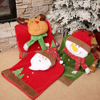 1pc Santa Claus Cap Chair Cover Christmas Dinner Table Party Red Hat Chair Back Covers Xmas