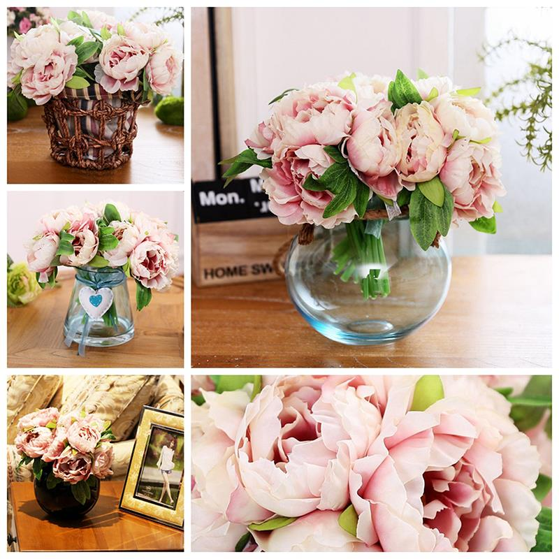 Hot 5 head bouquet vintage artificial peony silk flower home room hot 5 head bouquet vintage artificial peony silk flower home room wedding party floral decor y1 in artificial dried flowers from home garden on mightylinksfo