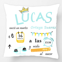 Customized With Birthday Baby Boy Cushion Birth Data Crown Pattern Pillow Decorative Cushion Cover Pillow Case