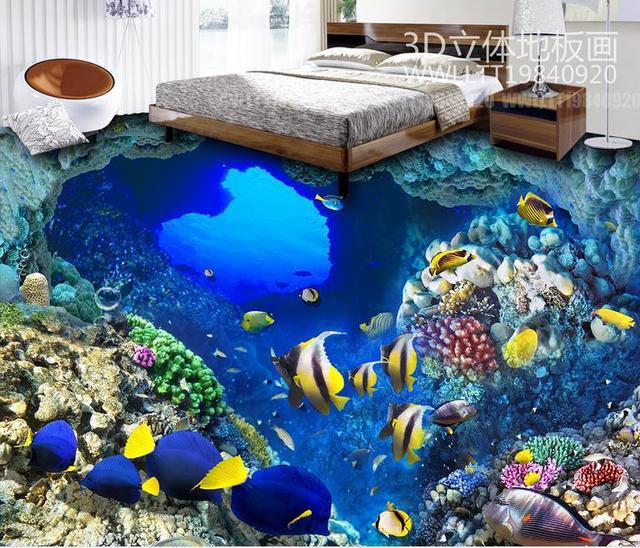 Custom Hd 3d Flooring Tropical Fish Wallpaper 3d Floor Tiles Mural