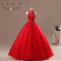 Halter Neckline Illusion Lace Top Red Puffy Tulle Quinceanera Dress Floor Length Corset Ball Gown Real Photos