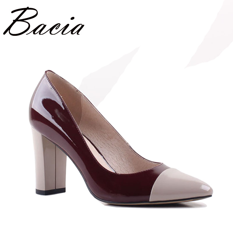 Bacia 2017 New Pointed toe 8.2cm High Heels Wine Leather Shoes Shallow Elegant Fashion Shoes Spring Summer Women Pumps SA013 new 2017 spring summer women shoes pointed toe high quality brand fashion womens flats ladies plus size 41 sweet flock t179