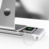 Aluminium Alloy Base Holder Smart 4 USB Port Charger Stand for PC Desktop Laptop JLRL88
