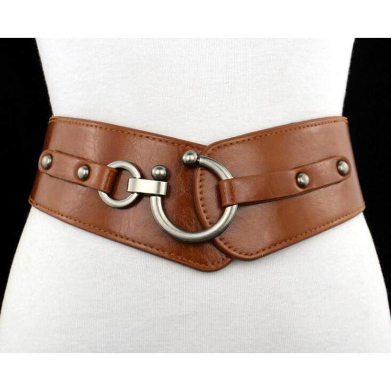New Belt Women's Elastic Belt Wide Stretch PU Leather belts Girl Ceinture Black brown red Womans Belts