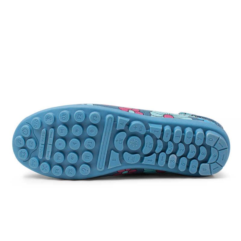 Hoge Kwaliteit Echt Leer Vrouwen Flats Bootschoenen Comfortabele Zachte Gommino Flats Fashion Bloemen Printing Platte Slip Op Schoenen