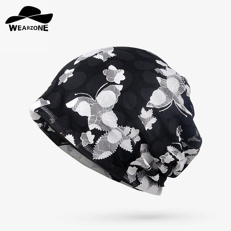 WEARZONE Brand Autumn Winter Caps Women Lace Hedging Skullies Cap Flower Printing Hat Knitting Jacquard Double Layer Of Cotton winter women hedging skullies beanies knitting caps bonnet double layer cotton knitted hat lace cap