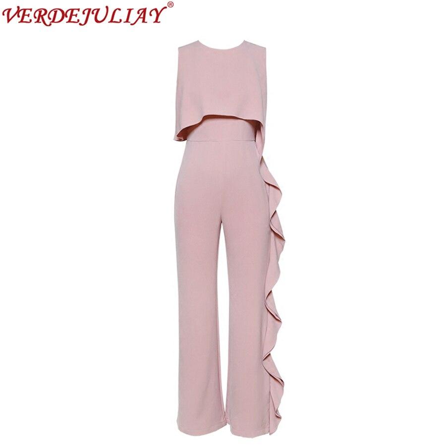 Ladies Career Pants 2018 Summer European Women Style New Sleeveless Empire Ruffles Slim Fashion Pink Runway Wide Leg Pant