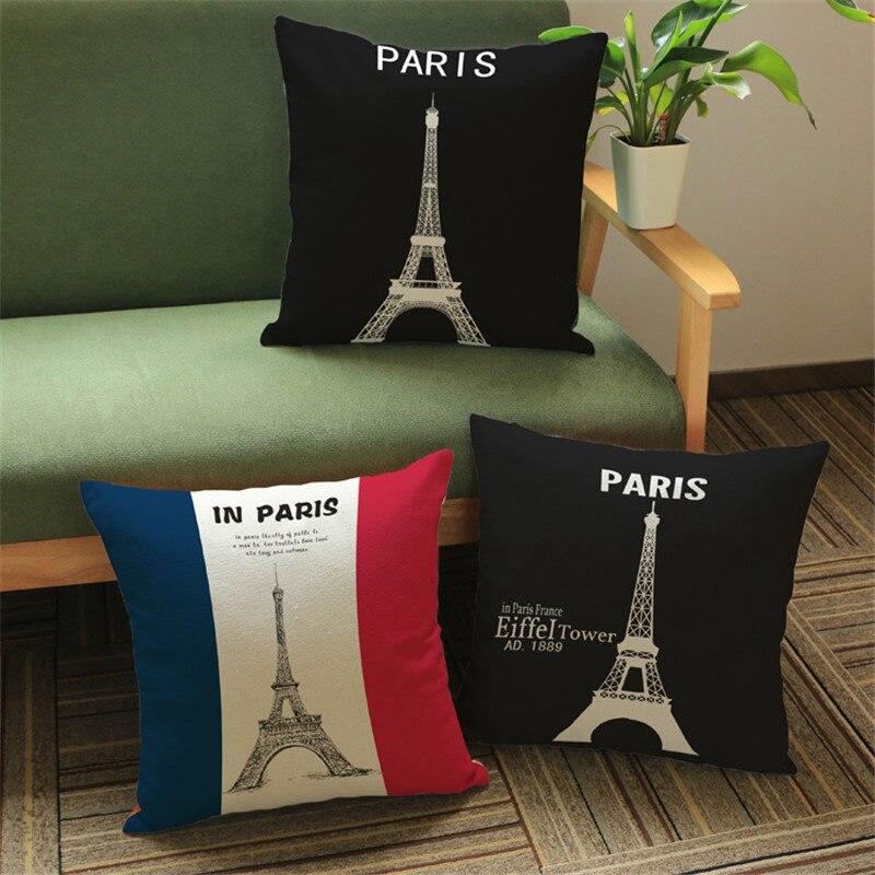 Paris Eiffel Tower Pattern Cotton Linen Cushion Cover Chair Waist Pillow Cover Simple Style Pillowcase Home Decor