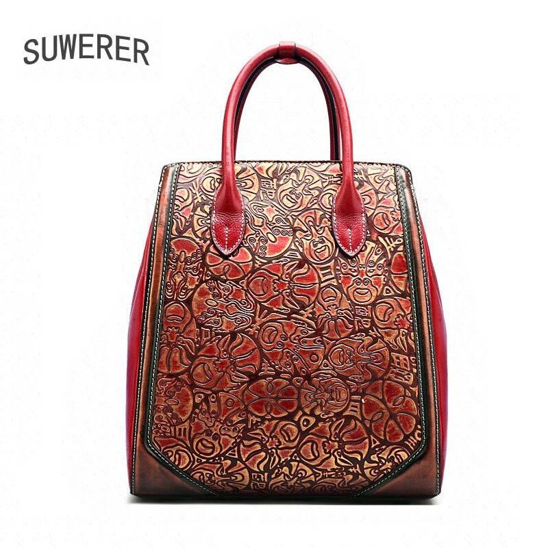 SUWERER Genuine Leather women bags for women luxury women handbags Chinese style designer big bag handbags women famous brands