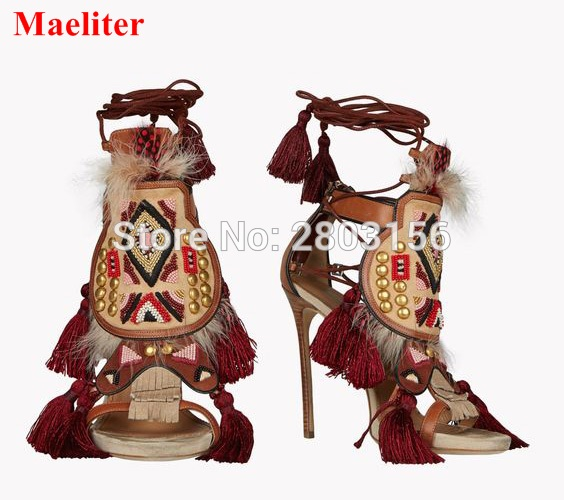 Hot Sale Lace Up Fringed Gladiator Sandals Women Pumps High Heels Stiletto Feather Crystal Summer Shoes Sandalias Mujer dijigirls women pumps peep toe high heels gladiator sandals shoes woman party wedding flock leather stiletto lace up summer boot