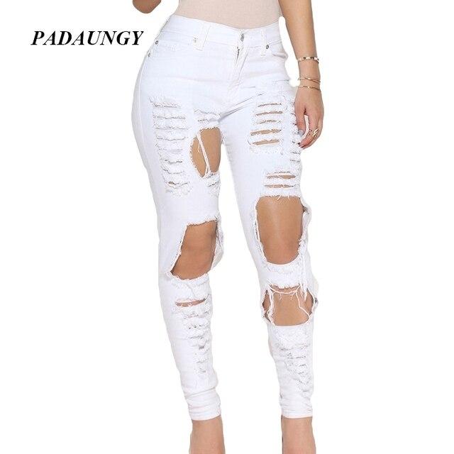 afd9a6490656f PADAUNGY Déchiré Jeans Avec Taille Haute Blanc Noir Jeggings Déchiré Crayon  Pantalon Trous Denim Pantalon Slim