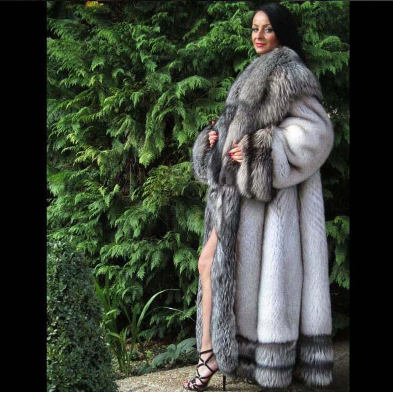 ca0364121 BFFUR Real Fur Coat Luxury Whole Skin With Big Silver Fox Fur Hood Warm  Thick X-long Loose Fur Outerwear Natural Fur Coats Full | Merchandise Inn