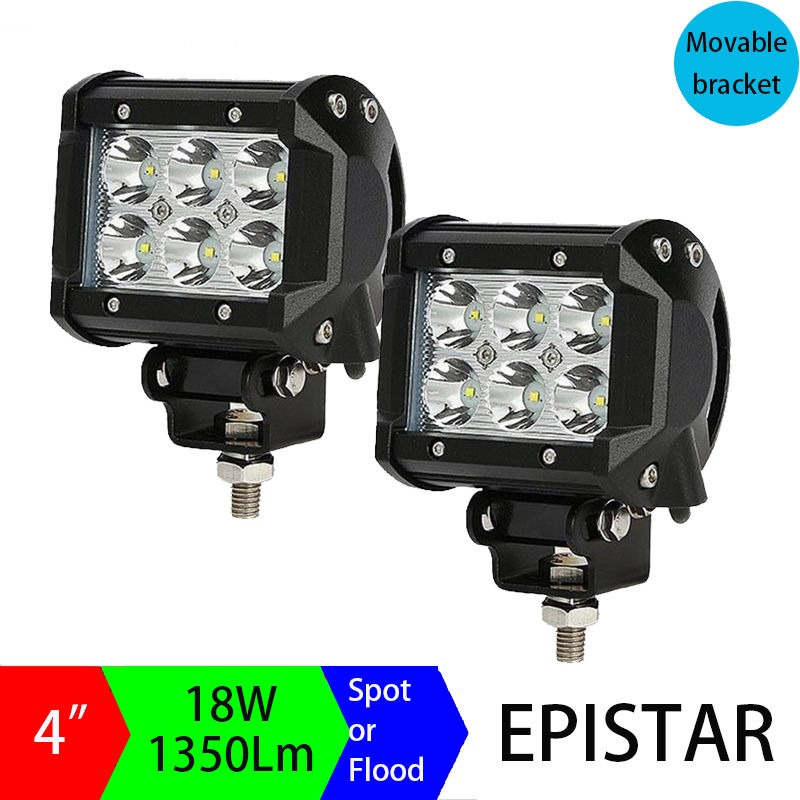 4 inch 18W LED Work Light Bar for Tractor Boat Off-Road 4WD 4x4 with Wiring Kit Truck SUV ATV Spot Flood Combo Beam Driving