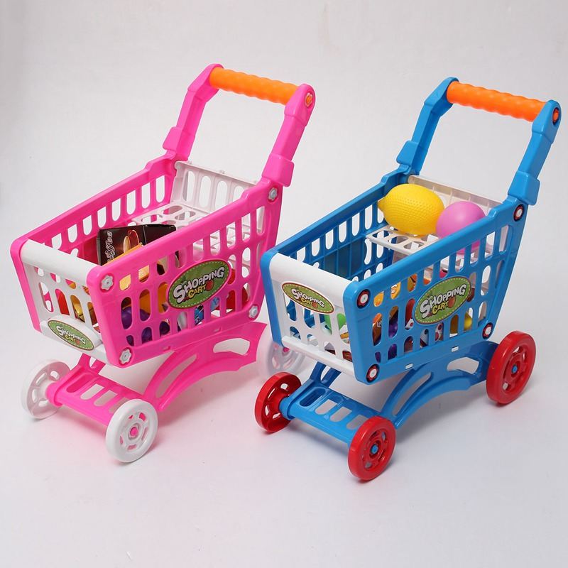 cute mini children supermarket shopping cart with full grocery food toy fun prentend for kids. Black Bedroom Furniture Sets. Home Design Ideas