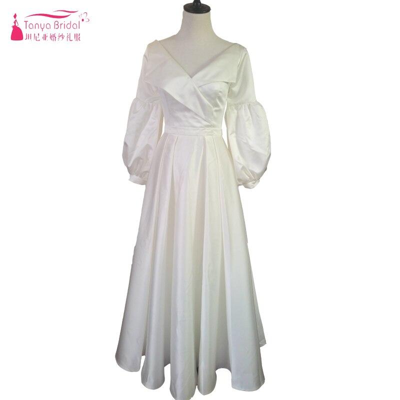 Lanter manches robes De mariée 2018 Musilm mode robes De mariée col en v cheville longueur pays Vestido De Noiva réel chine ZW031