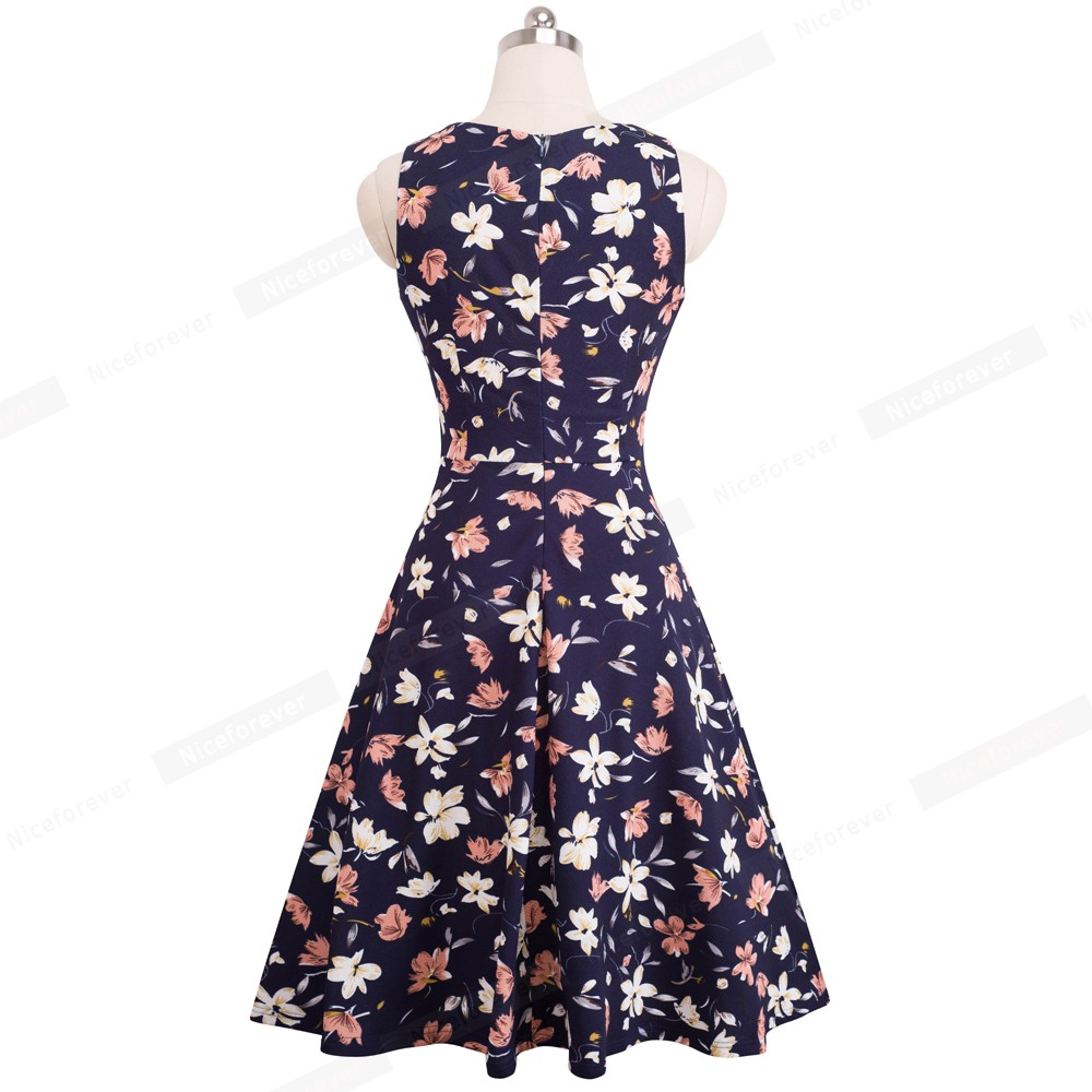 Nice-forever Vintage Elegant Embroidery Floral Lace Patchwork vestidos A-Line Pinup Business Women Party Flare Swing Dress A079 123
