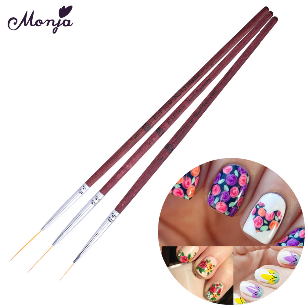 3 Size Nail Art Red Wood Liner Slim Brush Set Gel Polish Tips Diy Petal French Grids Lines Painting 3d Image Drawing Pen In Brushes From Beauty
