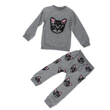 2017 Spring Long Sleeve Embroidery cat Pullover Blouse +Cat Pants Clothing Set fashion baby clothes outfits