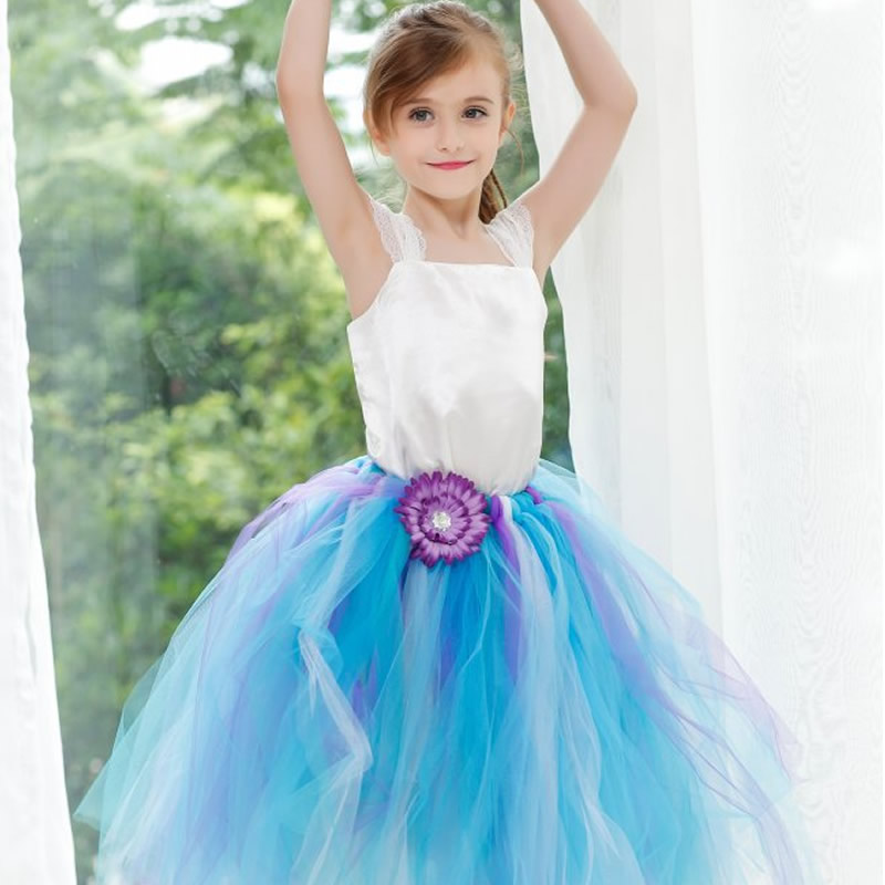 2018 Top quality Princess Flower Girl Dresses Blue and Pink Flower 2-12Y Fashion Draped Ball Gown Evening Dress Children Party