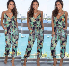 Sleeveless Straps Jumpsuit Floral Pattern Casual Pantsuits Loose Holiday Daily Wear Rompers eDressU CLX-101047
