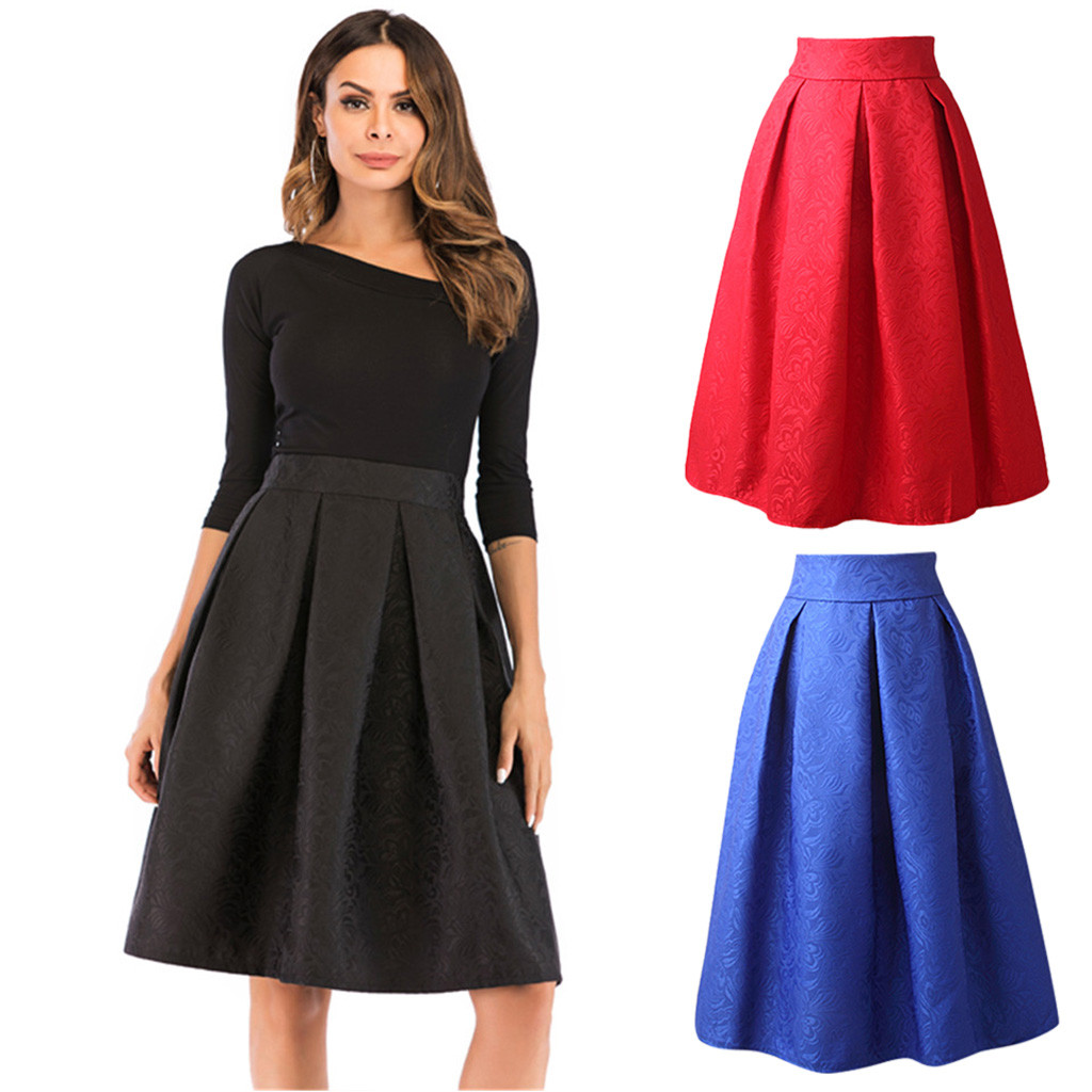 2020 Spring Women Elegant Pleated Skirt Elastic High Waist Women Long Skirt Female Autumn Ladies High Quality Midi Skirt Saia