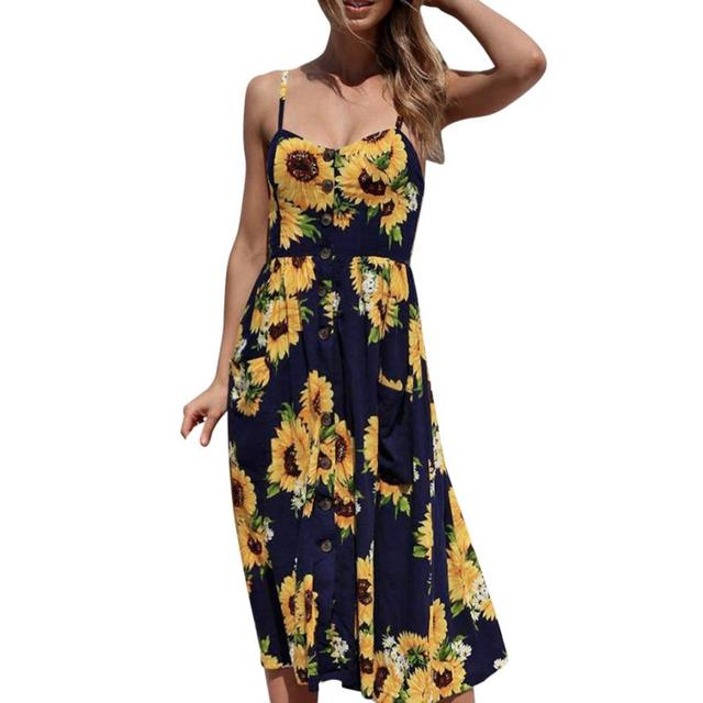 6cc62e1180a5 Vintage Lady Boho Beach Sundress Women Summer Sleeveless Bohemian Floral  Printed Long Dress Womens Casual Maxi Party Dresses  Ju