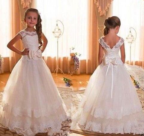 New Cap Sleeve Backless Ivory Lace   Flower     Girl     Dresses   For Weddings 2016 Bow Floor Length First Communion   Dresses   For   Girls