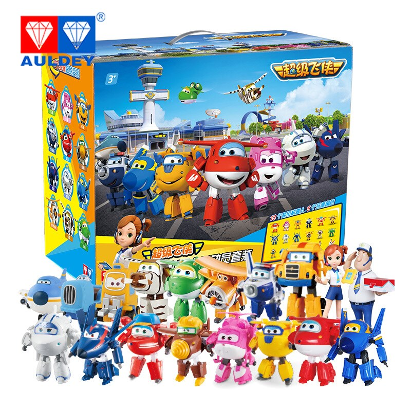 AULDEY 18pcs/set Big 15cm Super Wings High Quality Original TODD PAUL JEROME DONNIE ASTRA MIRA Deformation Action Figures Toys auldey super wings toys action