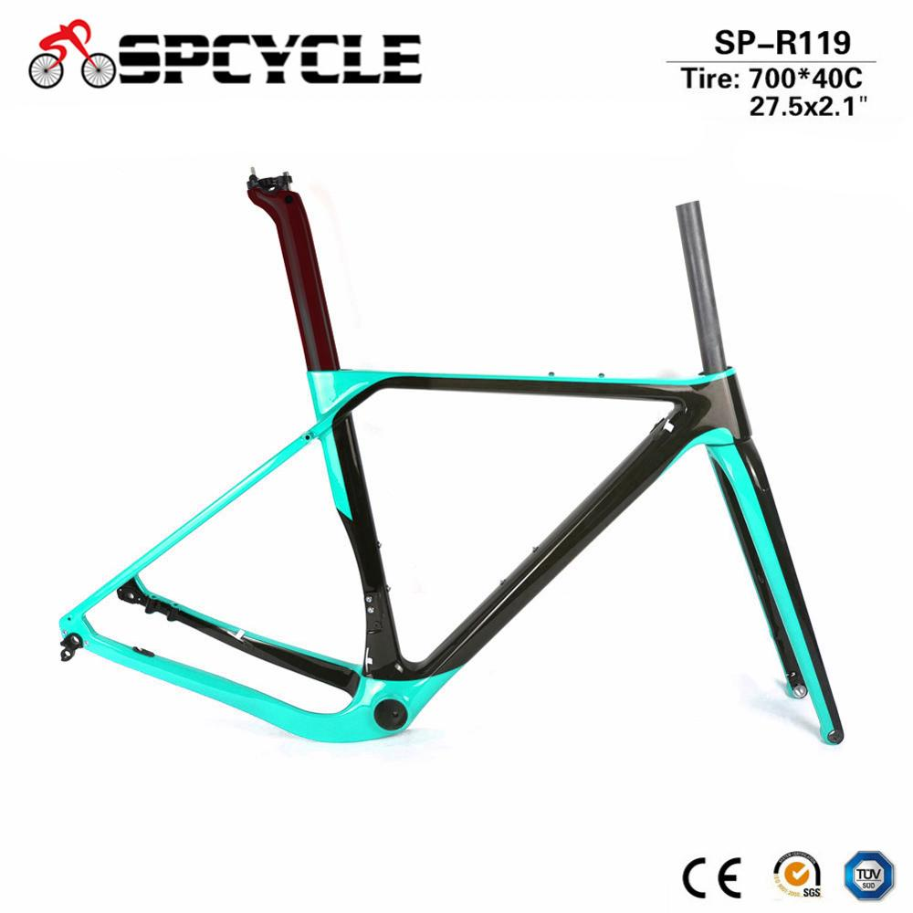Spcycle 2019 New Full Carbon Gravel Bike Frame Aero Disc Brake Road Cyclocross Bicycle Frameset Size 49/52/54/56CM