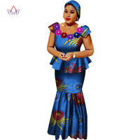 African Bazin Riche Dresses for Women Set Clothes Skirt Top Sets for Women High Waist Skirt Long African Skirt Plus Size WY2564