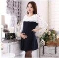 Novo estilo elegante vestido de lady dress moda da cor do contraste lace dress para a gravidez grande tamanho do joelho-comprimento chiffon dress para maternidade
