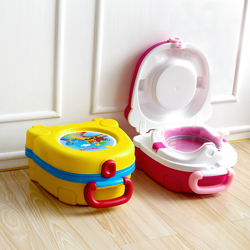2017 New Baby Girl Boy Portable Traveling Car Squatty Potty 25*23*12 Cm WC Toilet Urinal Yellow Pink Potty Trainers Seat Toilet