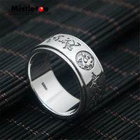 Genuine 100% 925 Sterling Silver Vintage Punk Personalized Dragon Can Turn Ring For Women Men Fashion Jewelry