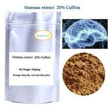 Бесплатная доставка 200 г/пакет экстракт Гуараны, экстракт семян порошок 20% Кофеина ehance памяти