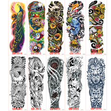 80pcs/lot Large Big Temporary Tattoos stickers Full Arm Cool Fake Tattoo sleeves Designs Black Fire Death Skull Rose wholesale