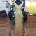 Luxury Gold Mermaid Sweetheart Rhinestone Beaded Evening Dresses 2017 Long Engagement Party Proms Gowns robe de soiree TE170